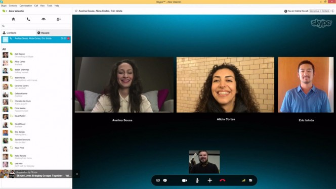 Skype group video call header