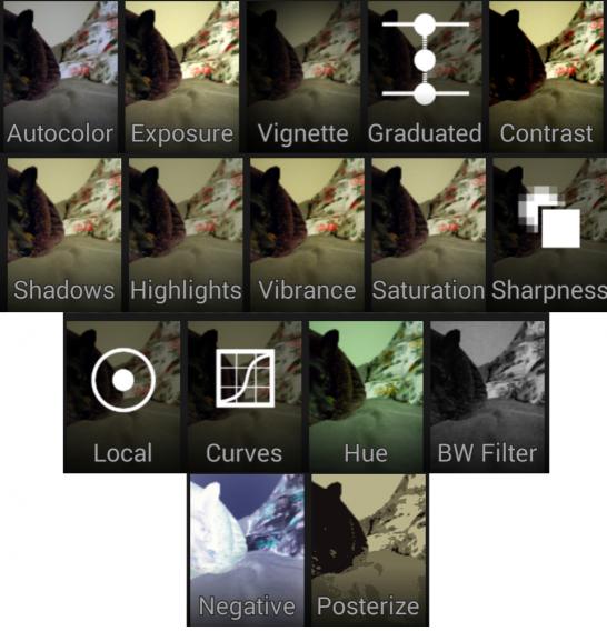 Opções de edição de fotos da Câmera do Google