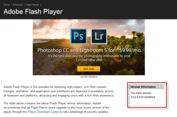 flash player what version