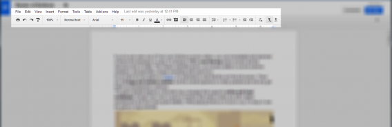 Google Docs Document menu bar