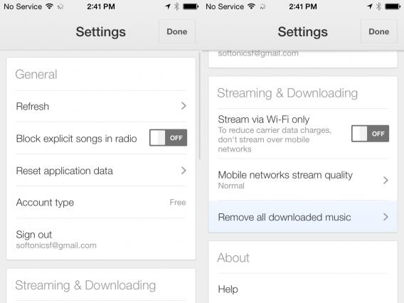 Google Play Music for iOS settings