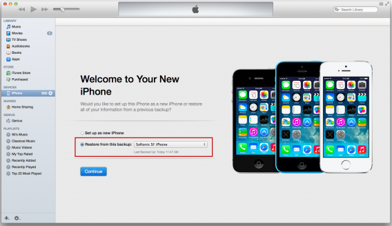 Mac OS X sync and restore new iPhone with iTunes