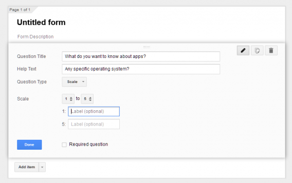 Google Forms scale