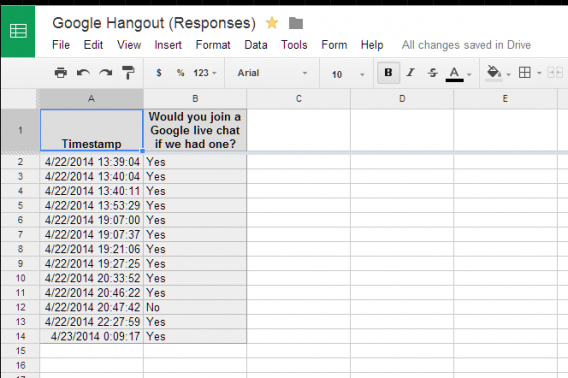 Google Sheets responses