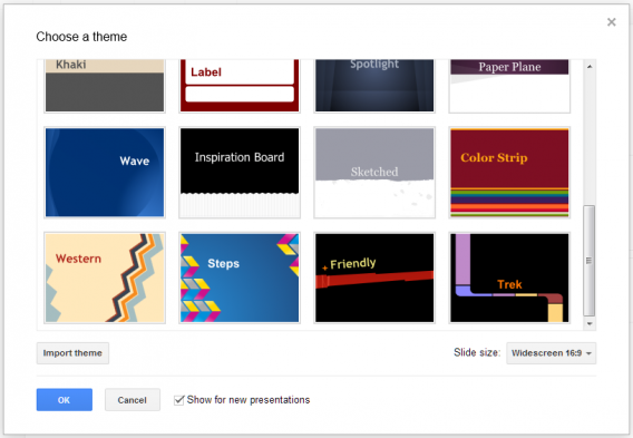 Google Slides: easy to use with lots of options