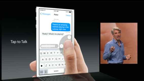 iOS 8 messages tap to talk