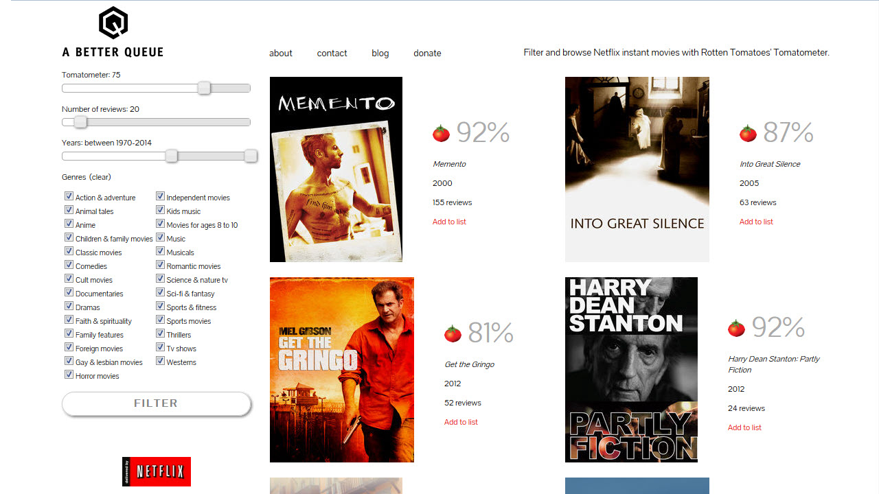Find good movies on Netflix with A Better Queue