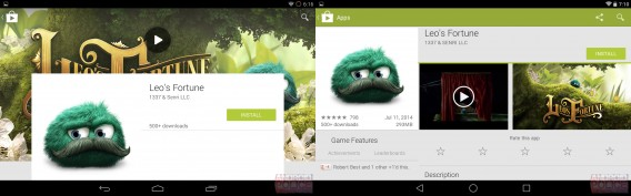 Leo's Fortune Google Play redesign via Android Police