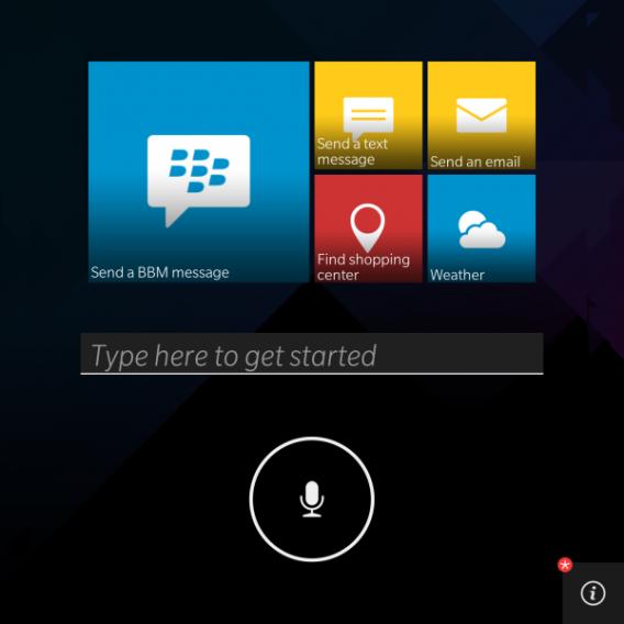 BlackBerry Assistant main menu