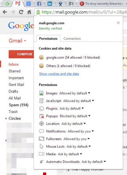 Gmail secure site lock icon menu
