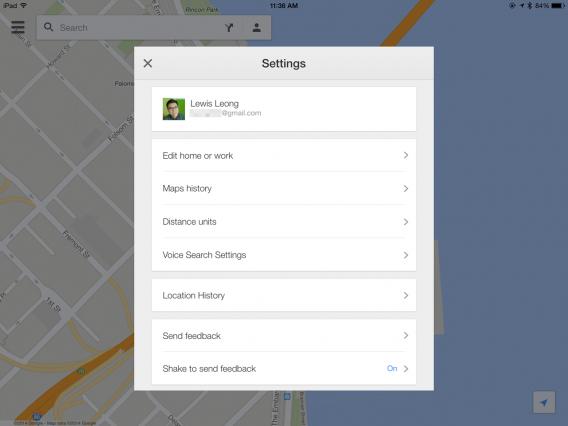 iOS Google Maps Location History settings