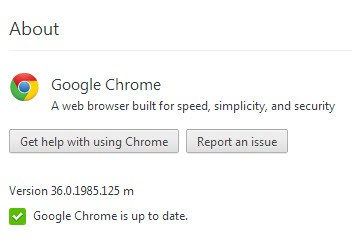 Google Chrome update page