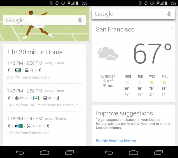 Google Now public transit and weather