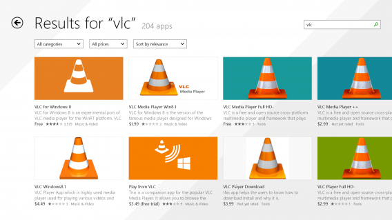 VLC for Windows 8 fake apps