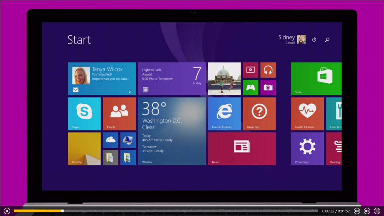Windows 8.1 purple header