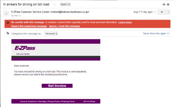 EZ Pass phishing scam