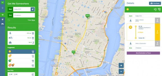 Citymapper NYC route calculations