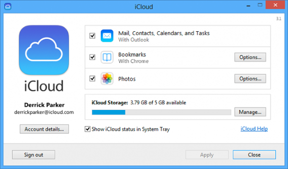 iCloud Control Panel for Windows screenshot