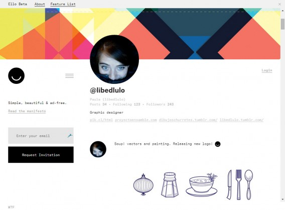 Ello example profile