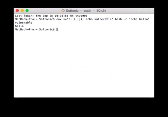 Mac terminal shellshock bash bug