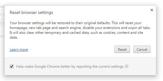 Google Chrome Reset Browser Settings warning