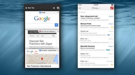 Chrome and Gmail for iOS header