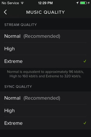 spotify ios music quality