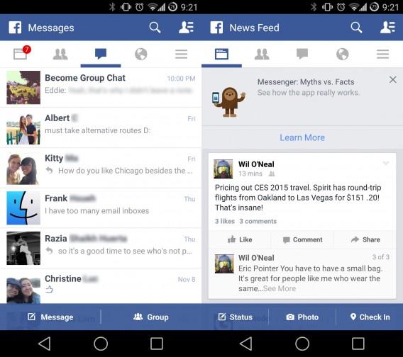 Facebook in-app messenger