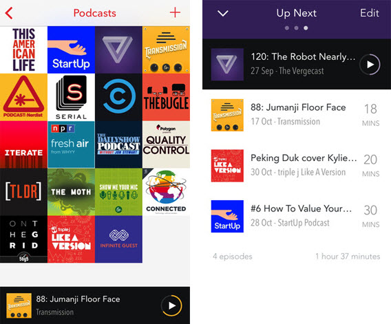 PocketCasts pour iOS et Android