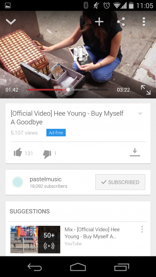 YouTube Music Key Nexus 5