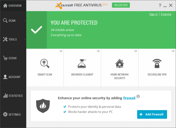 Avast 2015 home screen