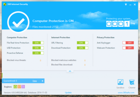 360 Internet Security options