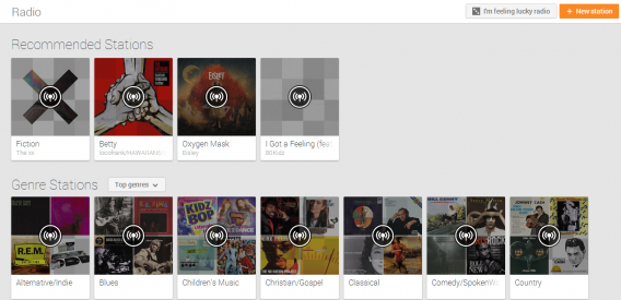 google play music all access radio recommended