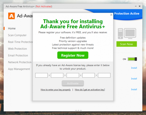 Ad-Aware required registration