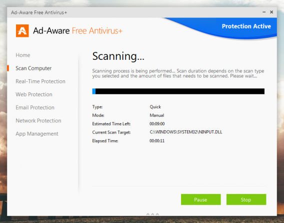 Ad-Aware Free Antivirus+ scanning