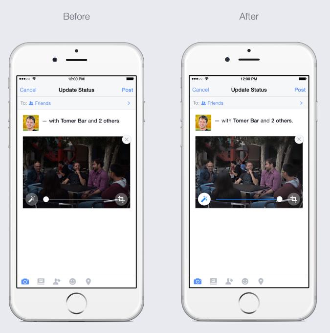 Facebook auto-enhance iPhone