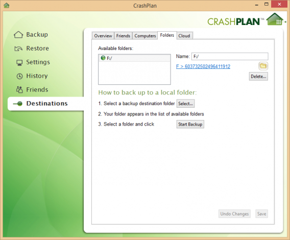 CrashPlan external backup
