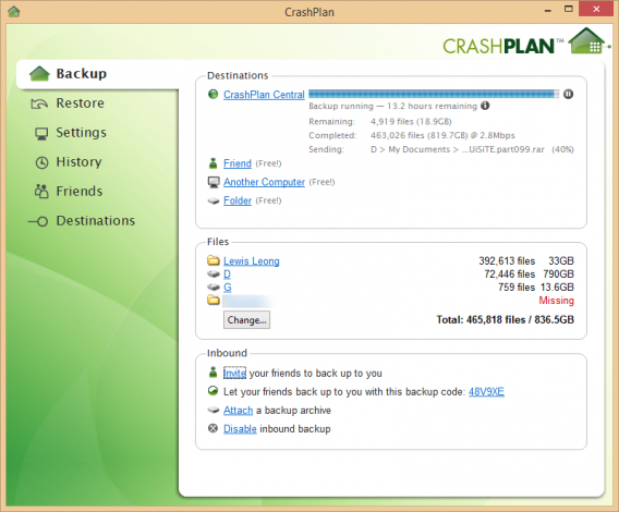 CrashPlan main