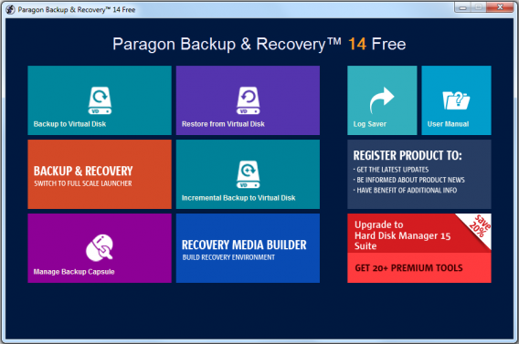 Paragon Backup and Recovery Main