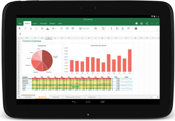 Excel for Android tablets
