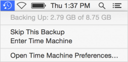 Time Machine menu bar