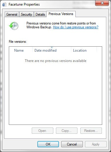 Windows 7 Previous Versions
