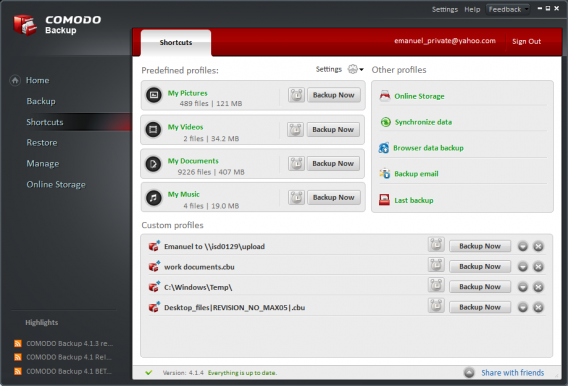 Comodo BackUp profiles