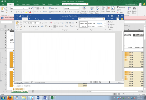 Office 2016 for Windows new colorful interface