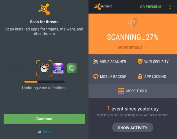 Avast for Android scanning