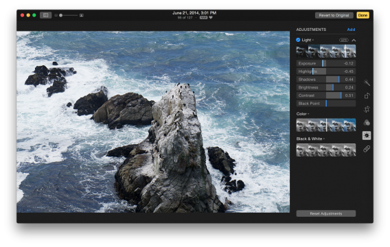 Photos for Mac editing sliders