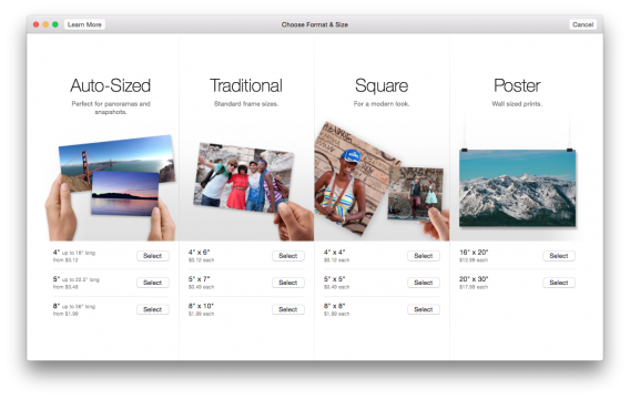 Photos for Mac print pricing