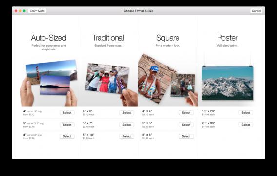 Photos for Mac print pricing