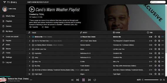 Tidal exclusive playlist Robinson Cano