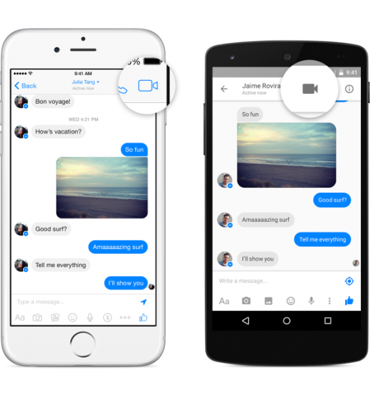 Facebook Messenger video call button